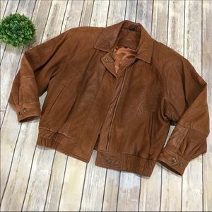Vintage 80s 90s Brown Leather Bomber Jacket Small